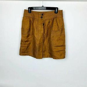 Women's Beige Front Pockets Mini Skirt
